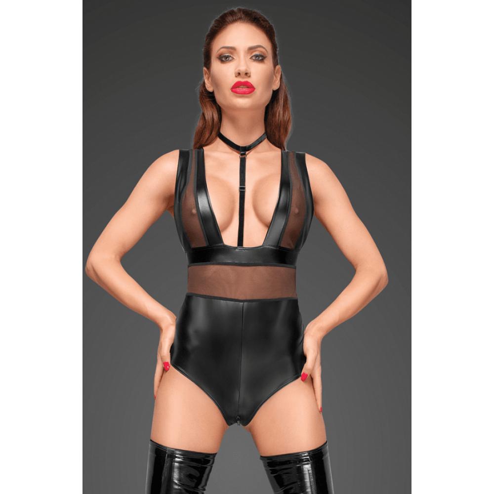 Боди сексуальный из винила с ошейником и молнией Noir Handmade XL черный (30656), фото 1