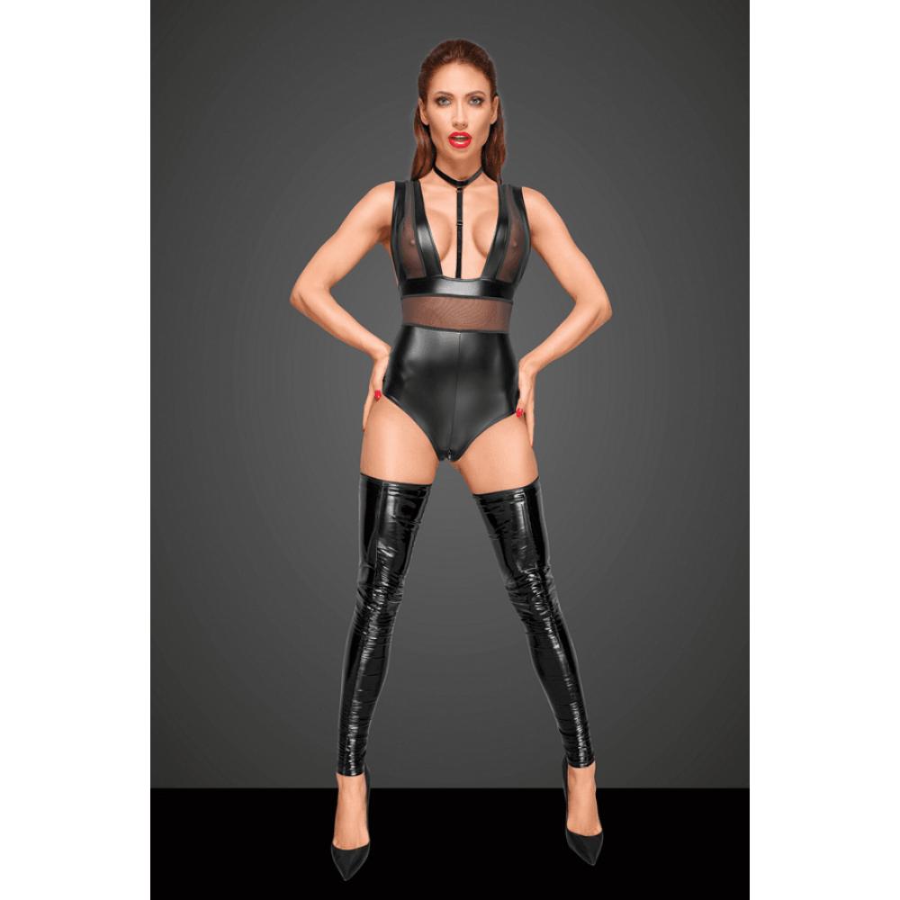 Боди сексуальный из винила с ошейником и молнией Noir Handmade XL черный (30656), фото 2