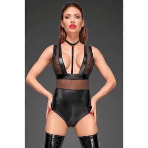 Боди сексуальный из винила с ошейником и молнией Noir Handmade XL черный (30656), zoom