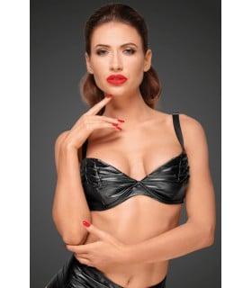Сексуальный бюстгальтер виниловый Noir Handmade с декоративными складками, черный, S