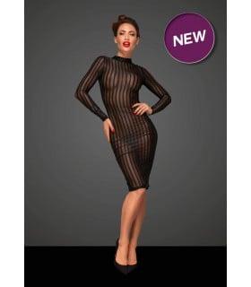 Полупрозрачное платье Noir Handmade, черное в полоску, размер L - No Taboo