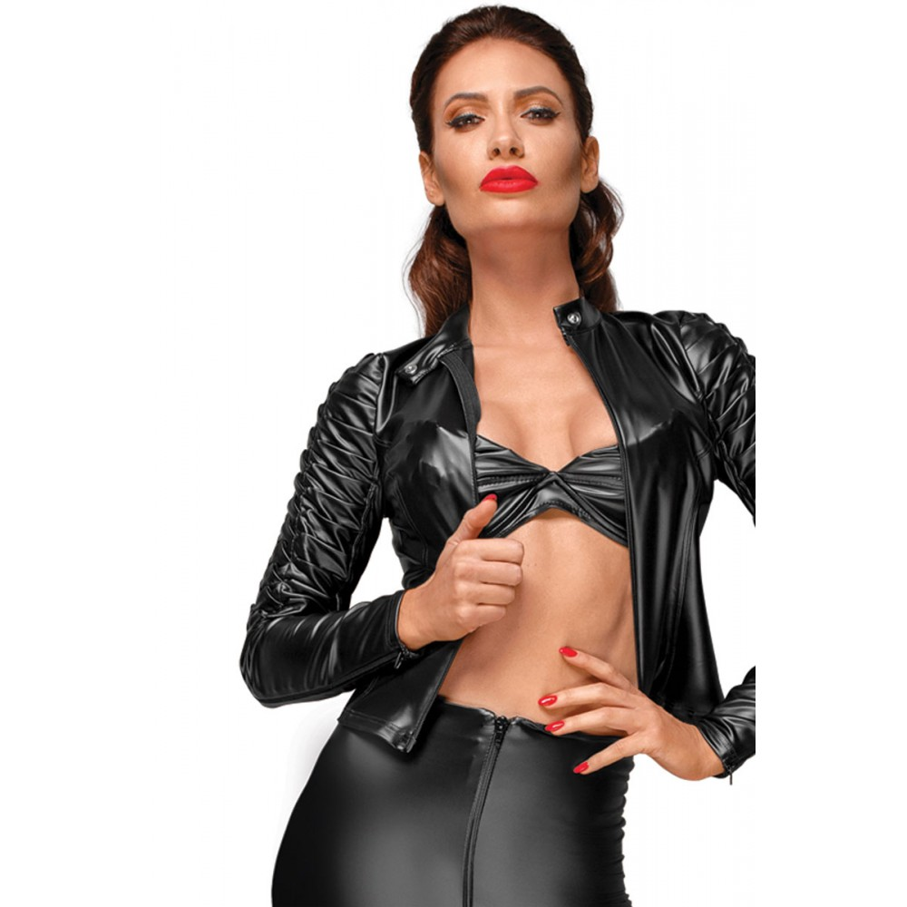 Эффектный виниловый пиджак с декоративными складками Noir Handmade S - No Taboo