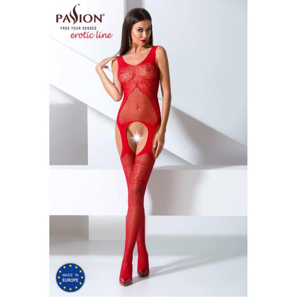 Эротический комбинезон красного цвета с имитацией чулок, о/s - No Taboo