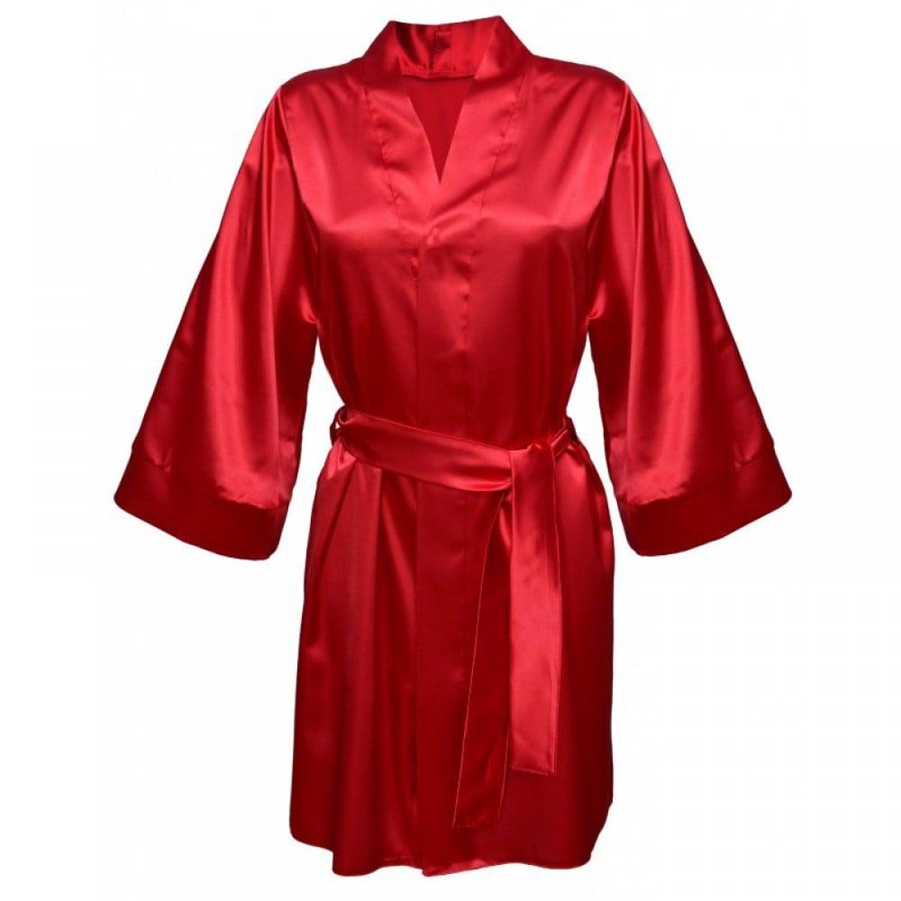 Халатик эротический атласный Cassie Red XL (25076)