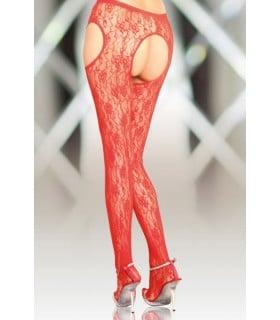 Колготы с интимным вырезом SoftLine красные размер 2 - No Taboo