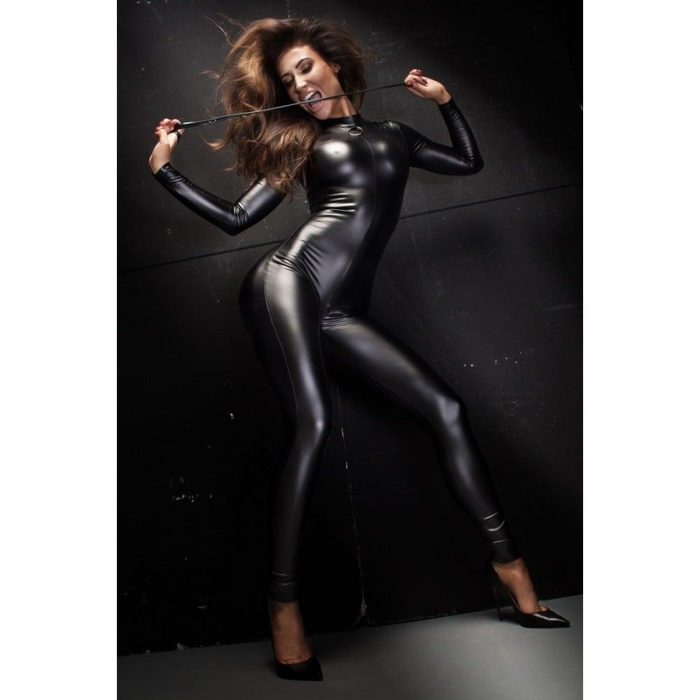 Сексуальный виниловый комбинезон Noir Handmade на все тело, с поводком, черный, размер M (30667), фото 3 — секс шоп Украина, NO TABOO