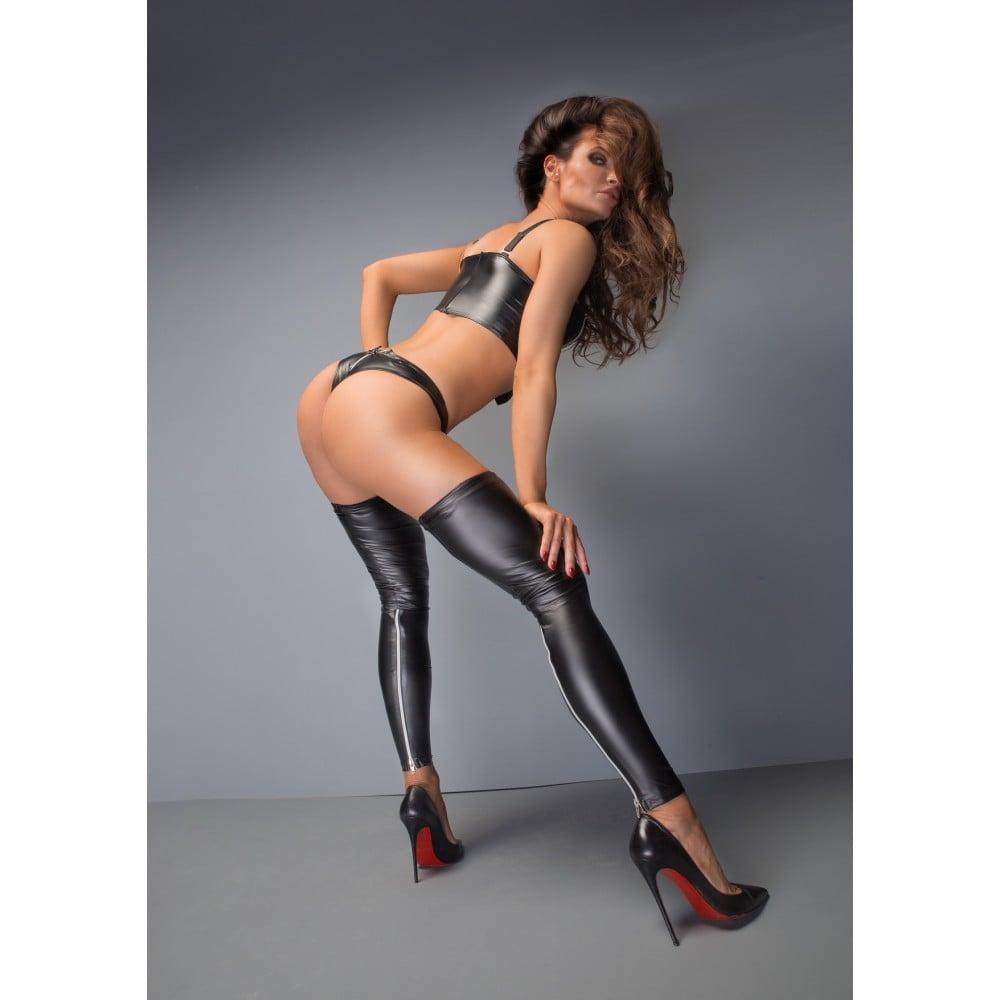 Комплект чулки с открытым носками и трусики с молниями F163 Noir Handmade S - No Taboo