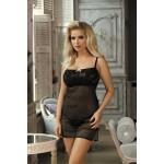 Сексуальная сорочка с вышивкой, полупрозрачная, черная, S/M