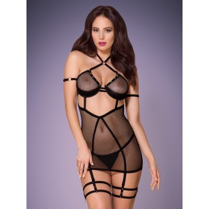 Платье сексуальное черное из лент L/XL (34651), zoom