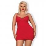 Сексуальная красная сорочка с кружевным декольте большого размера XXL