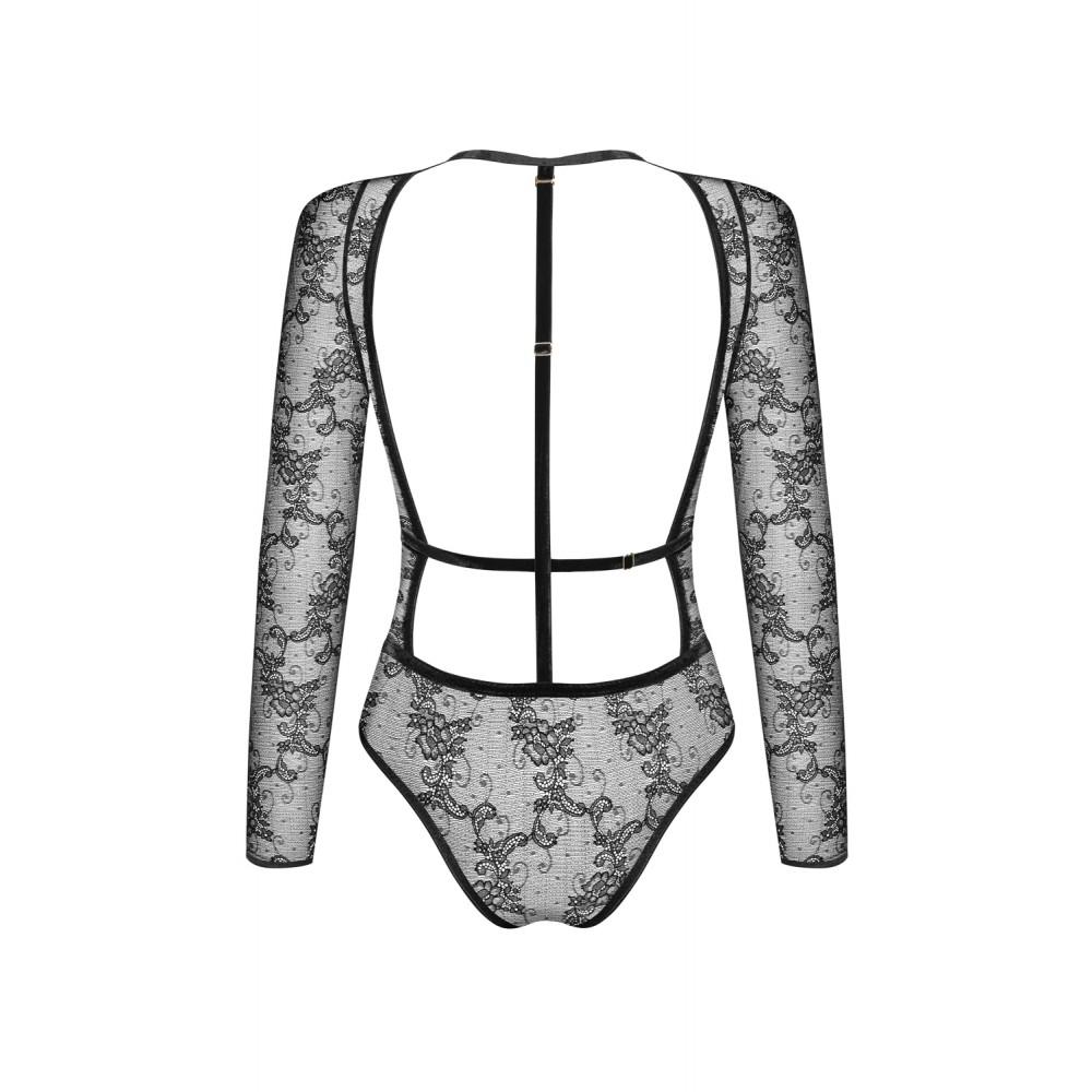 Эротический боди Noir Handmade кружевной с открытой спинкой, размер L (34397)