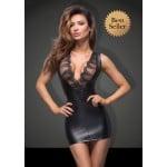 Сексуальное облегающее платье с кружевным декольте L