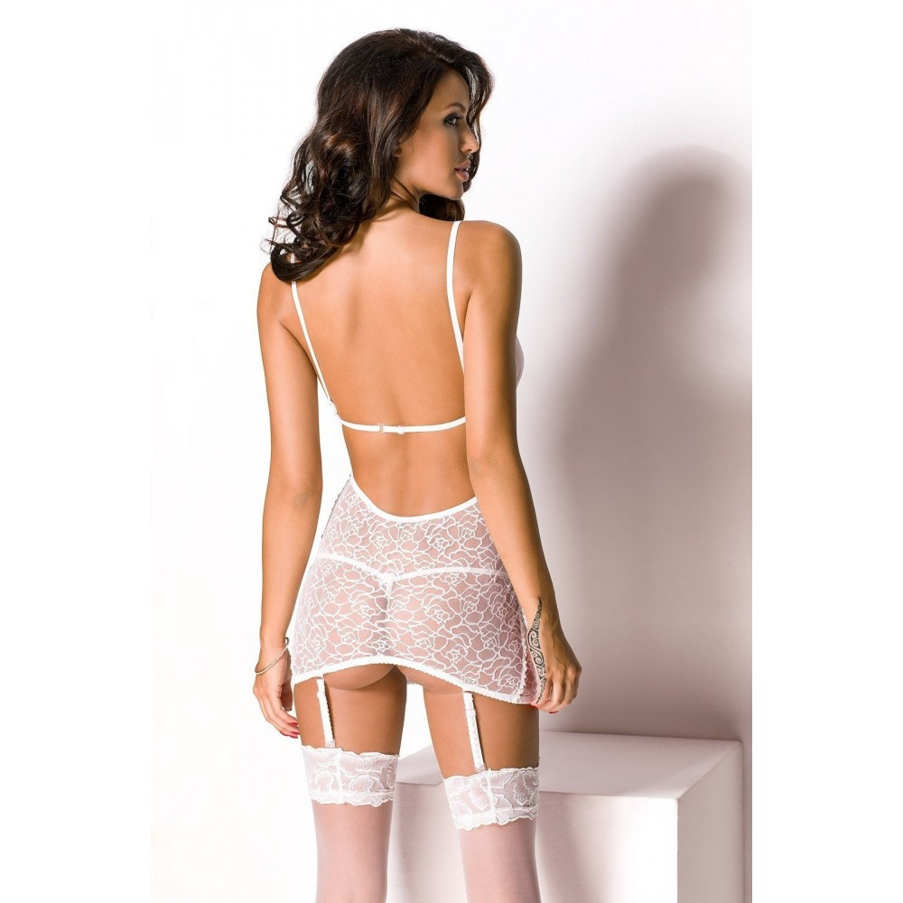 Сексуальная белая сорочка с подвязками, L (20323), фото 2 — секс шоп Украина, NO TABOO