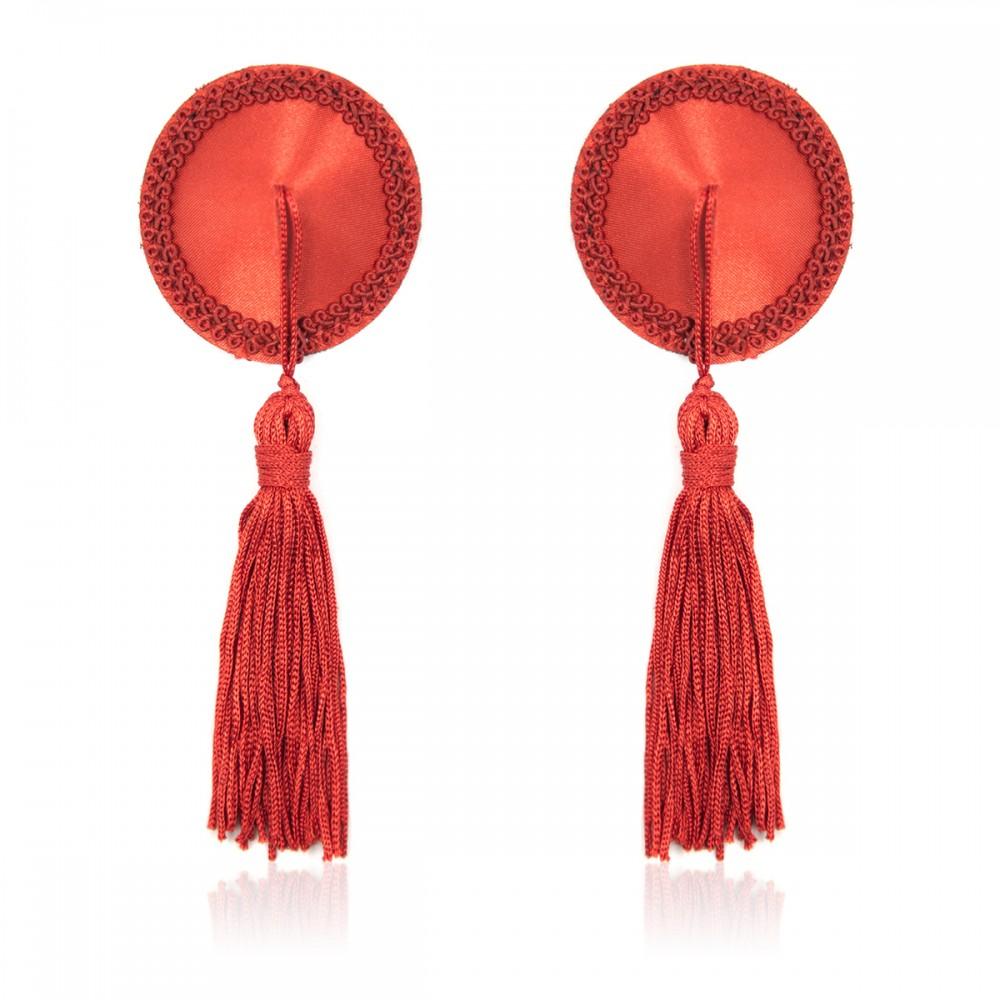 Пест червоні круглі з пензликами (34374)