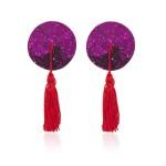 Пестіси круглі фіолетові з червоними пензликами