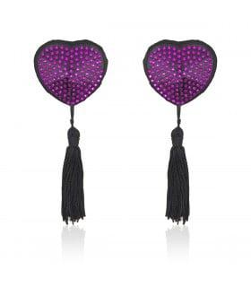 Пэстисы в форме сердца фиолетовые стразы с кисточками - No Taboo