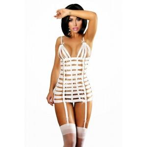Платье сексуальное из лент белое S/M (25770), zoom