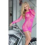Платье розовое сетка сексуальное S/L