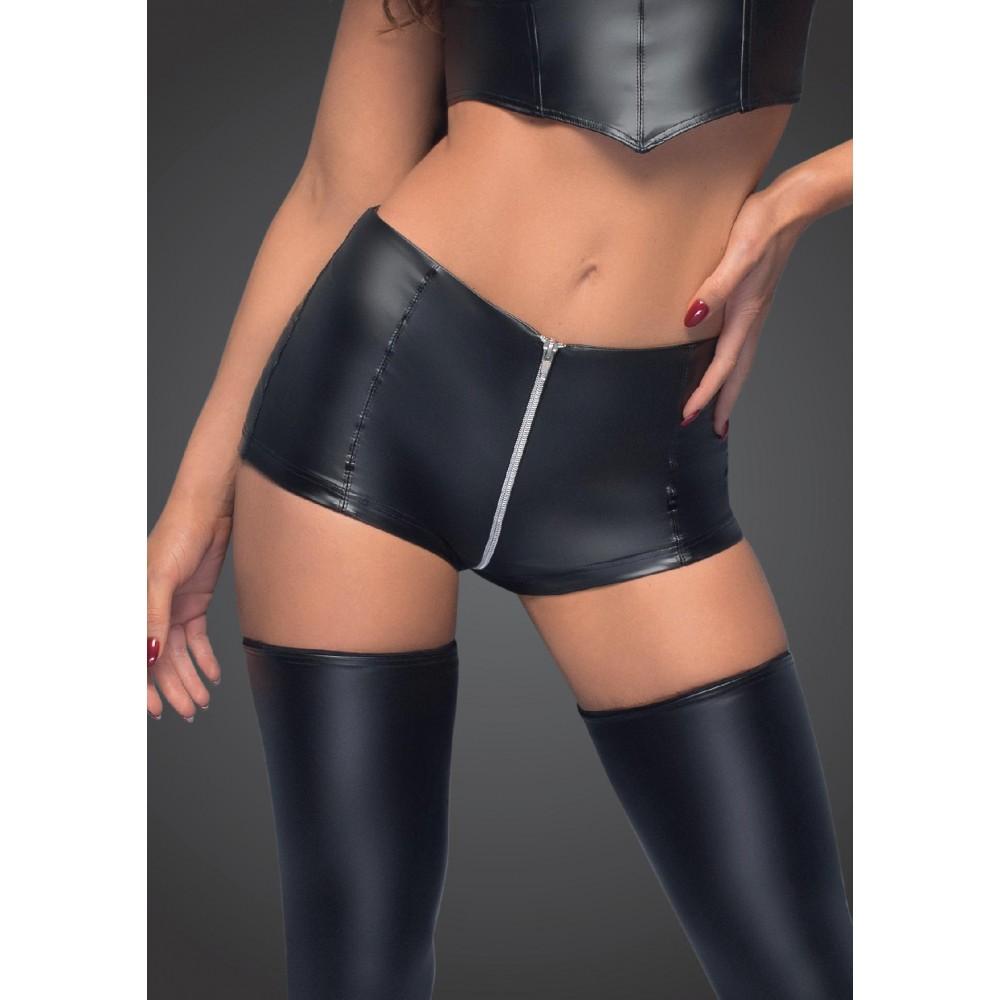 Виниловые шорты с молнией Noir Handmade M, черные , фото 1