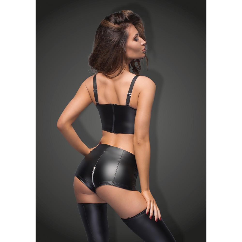 Виниловые шорты с молнией Noir Handmade M, черные , фото 3