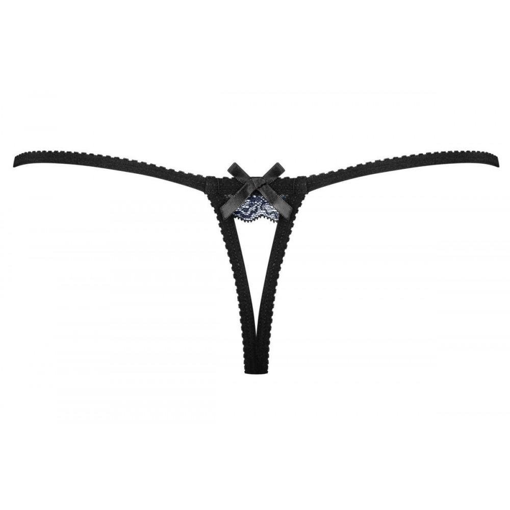 Эротические стринги кружевные с кулоном L/XL Черные (34598)