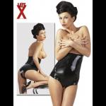 Трусики LateX с вырезом и высокой талией, черные, в размере XL