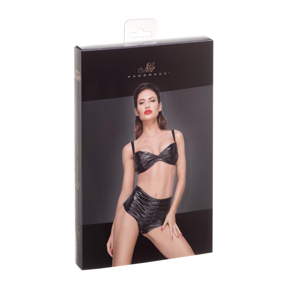 Труси-шорти з декоративними складками вінілові чорні Noir Handmade L (31941)