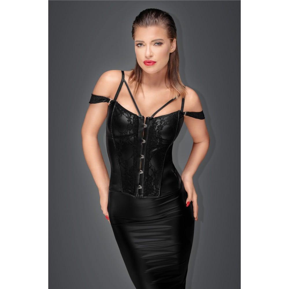 Корсет с гипюром, Noir Handmade, виниловый, черный, размер L (31951), фото 1 — секс шоп Украина, NO TABOO