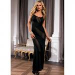 Платье длинное Sunspice с прозрачными вставками, черное, (One size)