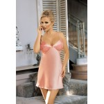 Сексуальная розовая сорочка с кружевными вставками, розовая, S/M