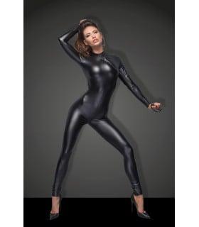 Сексуальний вініловий комбінезон Noir Handmade на все тіло, з повідцем, чорний, Розмір M - No Taboo
