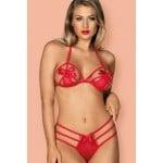 Комплект еротичний червоний з бантами L / XL