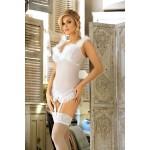 Эротический корсет с пажами для чулок, белый L/XL
