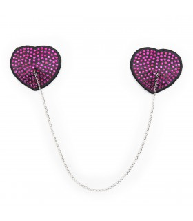 Пестисы сердца с фиолетовыми стразами на цепочке - No Taboo