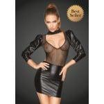 Платье длинный рукав, открытая грудь F201 Noir Handmade L