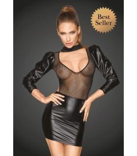 Платье длинный рукав, открытая грудь F201 Noir Handmade M - No Taboo