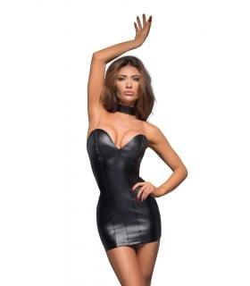 Сексуальне вінілове міні плаття без бретелей Noir Handmade S - No Taboo