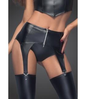 Пояс для чулок сексуальный из винила Noir Handmade, черный, размер L - No Taboo