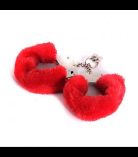 Металлические наручники с мехом, красные , крепкие - No Taboo