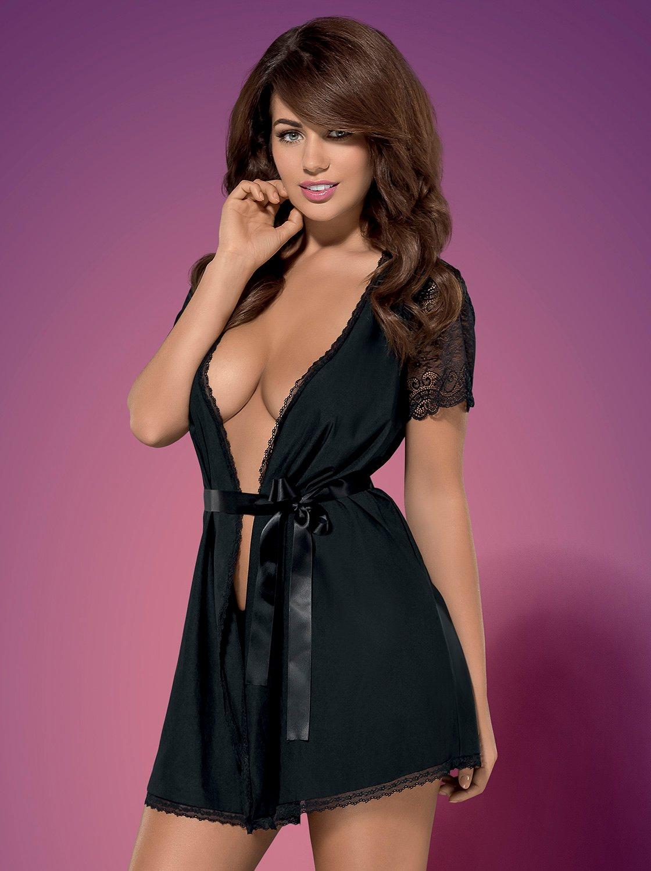 Фото 1 - Девушка в сексуальном черном халатике